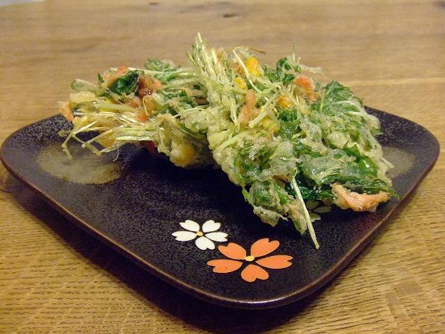 水菜&コーン&桜海老のかき揚げ