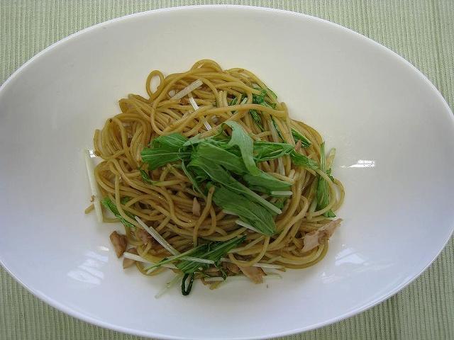 水菜の和風パスタ